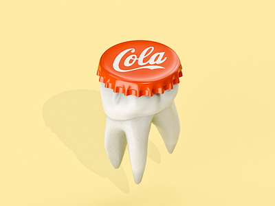 Sweet Tooth Cap 3d pun illustration cgi cinema4d animation c4d 3d art 3d artist 3d animation dentist cola toothbrush toothless tooth
