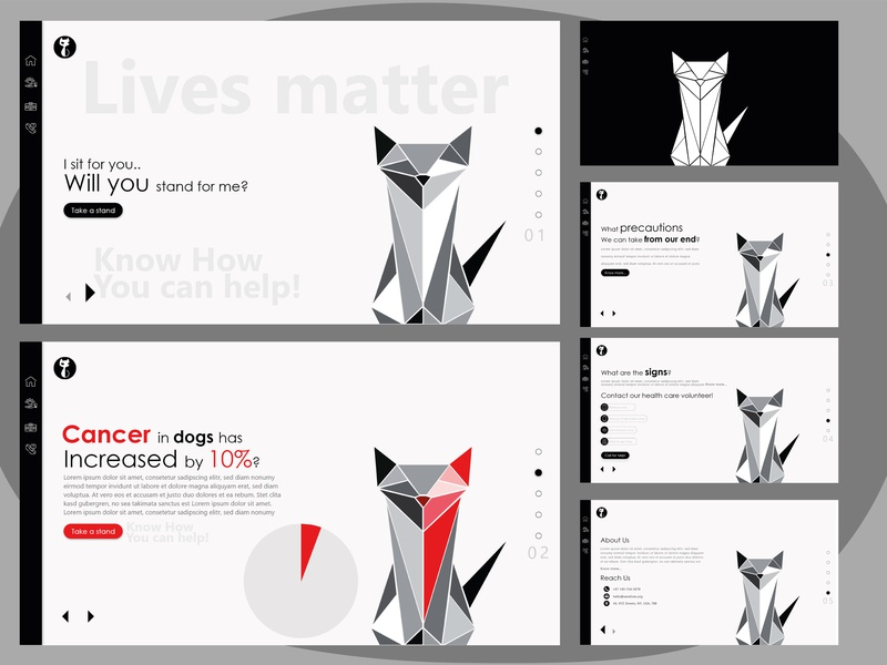 Sliding Webpage Design for petition and info site dog logo dog illustration design illustration slider design website concept website design