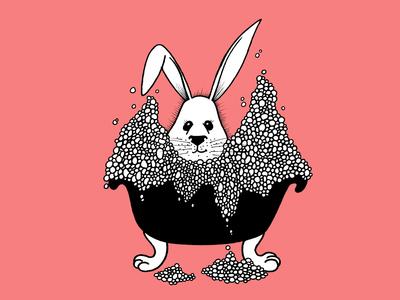 Fluffy rabbit taking a bath