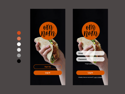 Om Nom ux  ui app design food daily creative challenge adobe xd challenge adobe xd ux design design