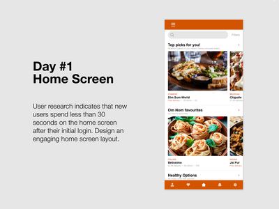 Om Nom: Day 1 ux ui ux design food design daily creative challenge app design adobe xd challenge adobe xd