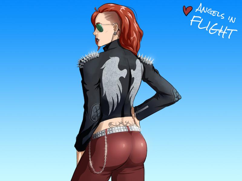 Cool Chick 🍑😎 digital sketch rock star character concept character design 2d art digital illustration