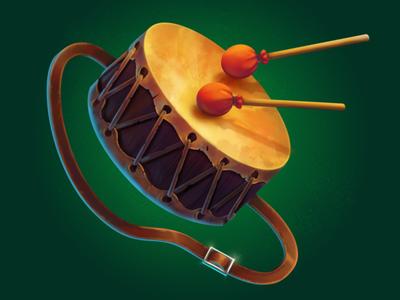 Medieval Drum 🥁 digital sketch game prop game art game icon 2d art digital illustration