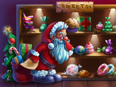 Santa in the Sweets Store game illustration digital illustration game art 2d art