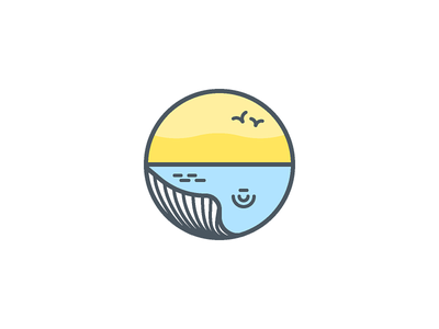Sleeping whale sunset beach badge whale sleeping