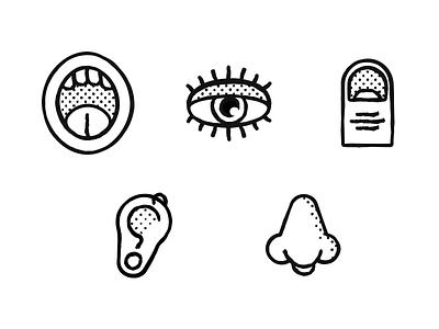 Five senses touch mouth nose ears eyes senses sketch halftone
