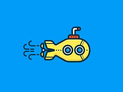 Submarine illustration yellow submarine