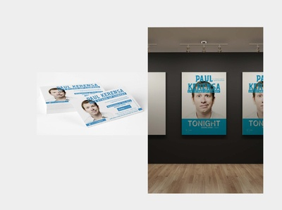 Paul Kerensa event flyer comedy show artwork adobe illustrator social media design flyer design event poster event branding typography blue and white branding logo design concept