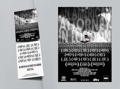 American attorney in london festival poster branding movie artwork design attorney london american flag black and white layout design postcard design poster design movie poster