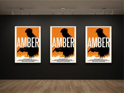 Amber Movie Poster london orange orange and black screen print vector adobe illustrator artwork design poster a day poster design movie poster amber