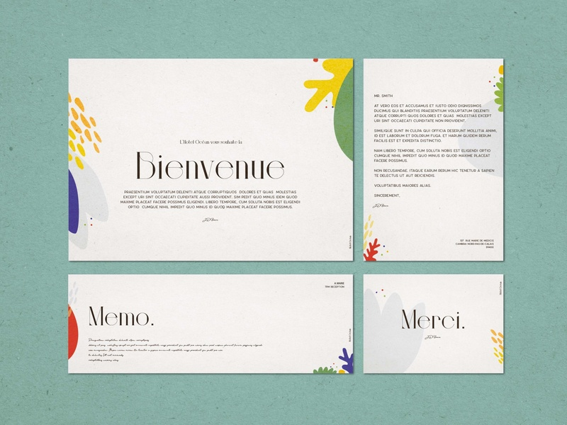 Green Stationery sexy typeface textured illustration hotel branding graphic design design merci welcome page letterhead fonts letterhead template french pop colours texture typography illustration vector branding adobe illustrator artwork ocean stationery