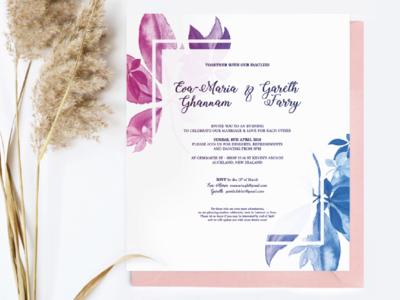 Wedding Invite feminine design handmade watercolour wedding invite
