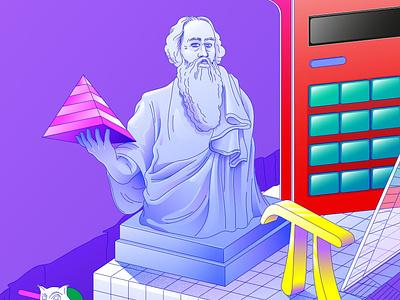 Phytagoras drawing lines illustration art flat school advertising editorialillustration vectorartwork vector lineart colors pi math statue illustration