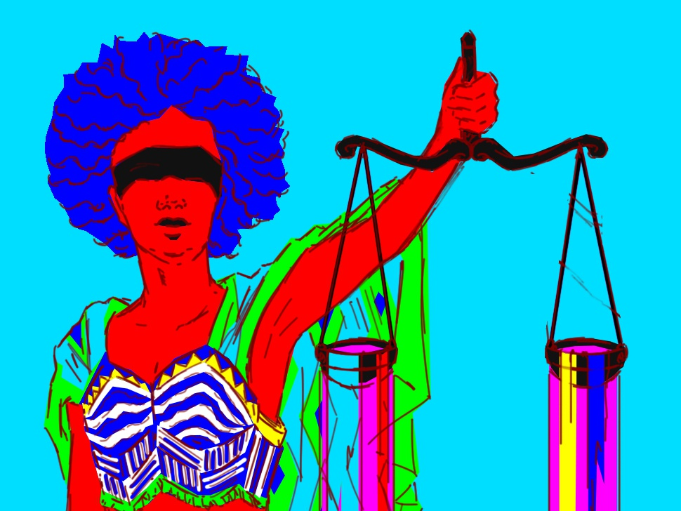 Lady Justice in Art lines hamburg texture coloful vector feminism woman pattern scale water africa colours humanrights justice illustration art