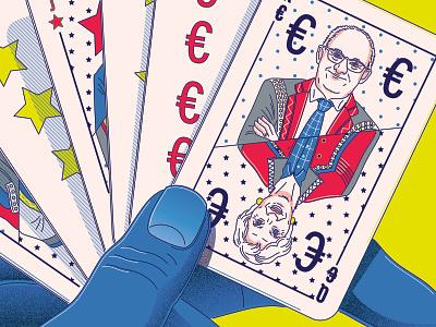 Lagarde Poker poker cards lane lagarde editorial design finances banks euro france hamburg texture illustrator minimal lines