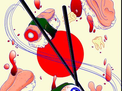 Cannibal Sushi sushi roll colors flag icon cannibalism japan sushi art hamburg illustrator minimal vector lines illustration