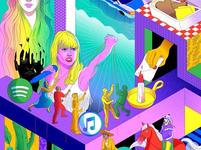 Taylor Swift vs Everyone isometric colors entertainment hamilton itunes spotify taylorswift kesha rainbow pop music pattern texture illustrator minimal lines illustration vector