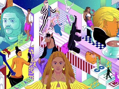 Recaping the decade colors crosshatching art drawing editorialillustration newyorkmagazine illustrator minimal lines illustration vector