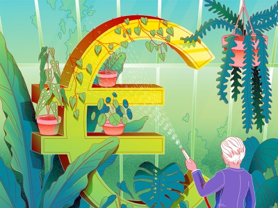 Green euro colors pattern vector money ebz economy jungle plants texture illustrator lines minimal illustration