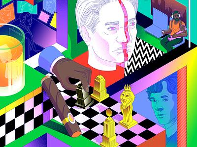 Best TV shows madmen whiskey sherlock portrait netflix tvshows tv drawing pattern lines minimal illustration vector