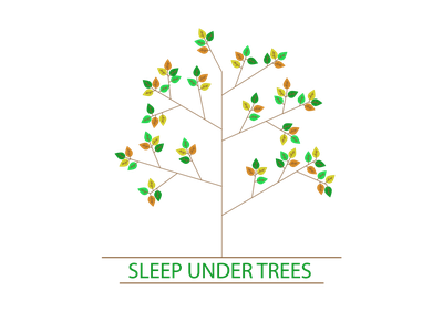 SLEEP UNDER TREES t-shirt illustration holliday flowers relax nature trees sleep flat vector ui web design illustration