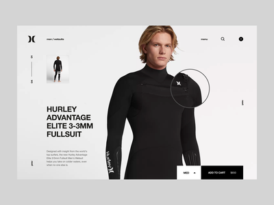 Hurley minimal clean website web ux ui zoom product invisionapp invisionstudio invision animation hm zara surf shop ecommerce pdp nike hurley