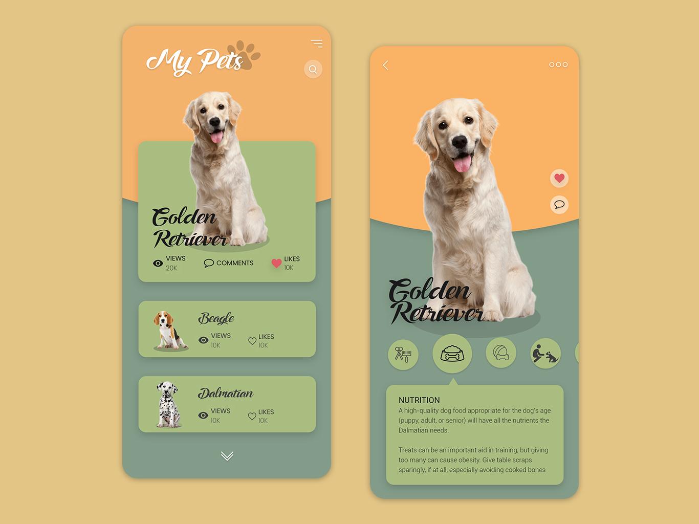 Pet App illustration mobile ui mobile app ios app design app android app ux ui