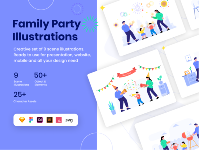 Family Party lllustration kit funiture firework uiuxdesign ui8 home character design illustration barbeque web ui colors new year party family characters product illustration kit