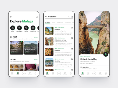 Tripadvisor app concept caminito explore redesign trip planner simple contrast linear search ui android ios green black travel app travel tripadvisor mobile daily ui dailyui app
