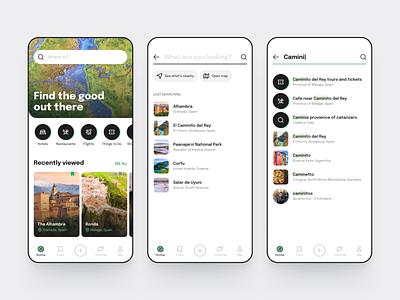 Tripadvisor app concept white linear list cards simple laconic flat searching search travel planner ui explore dailyui tripadvisor travel ios green daily ui mobile app