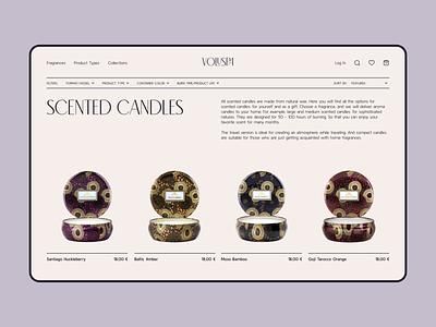 Candles Shop Concept candle webdesig catalogue web candles e-commerce shop beige swiss laconic simple simplicity inspiration ui violet cream catalog page wax daily ui