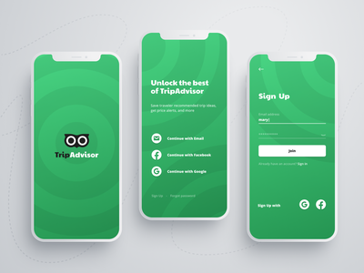 TripAdvisor app concept android ios form travel application 001 daily ui dailyui sign in log in login mobile register sign up form signup green app tripadvisor