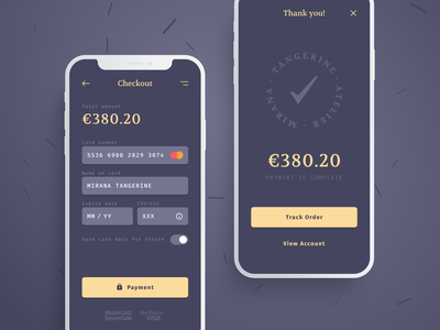 Checkout / Daily UI #002 order thank design inspiration figma ui ux flat checkout daily 100 challenge gray mobile app dark card form payment daily ui dailyui 002