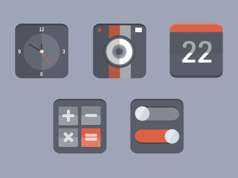 Flat Icon Set flat icon orange dark ui icons design preview camera clock calendar calculator switch icon set user interface ui design graphic design on switch off switch