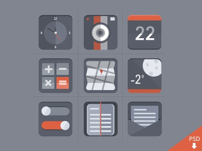 Free Flat Icon Set flat icons psd icon design graphic photoshop free freebie download clock camera calendar calculator map weather switch diary letter svg vector icon design icon set graphic design dribbble