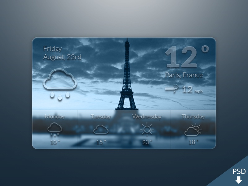Weather Widget Freebie free freebie psd weather widget graphic design paris france blur ios7 graphic design