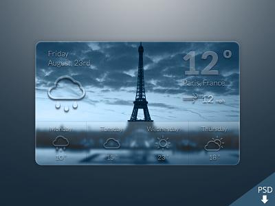 Weather Widget Freebie free freebie psd weather widget graphic design paris france blur ios7 graphic design
