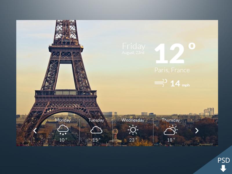 Weather Widget Freebie weather widget psd free freebie icons paris icon design app design