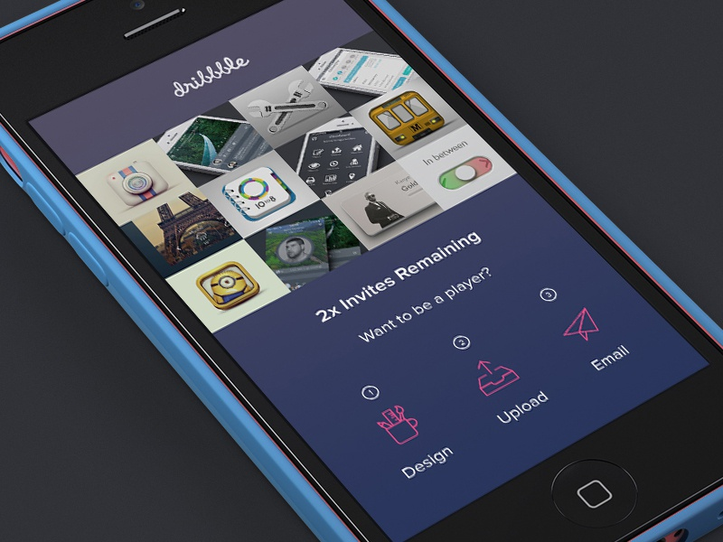 Dribbble Invites 2x invite app ui interface dribbble icon icons upload app design user interface