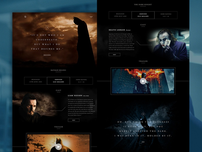 The History of Batman Website comic dc comics marvel interface website batman ui ux clean marketiting user interface website design