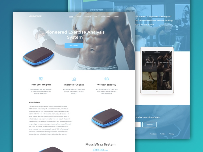 MuscleTrax Website WIP website interface ux minimal product app fitness gym web design product design training