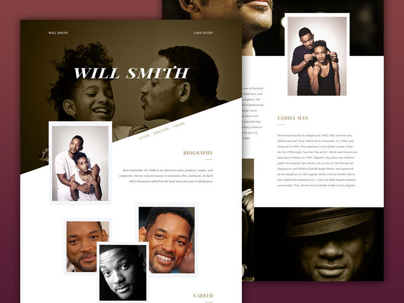 Will Smith Website website design web celebrity celeb biography will smith layout interface ui