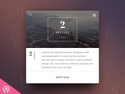 2 x Dribbble Invitations dribbble invite player draft web app design invitation app design web design