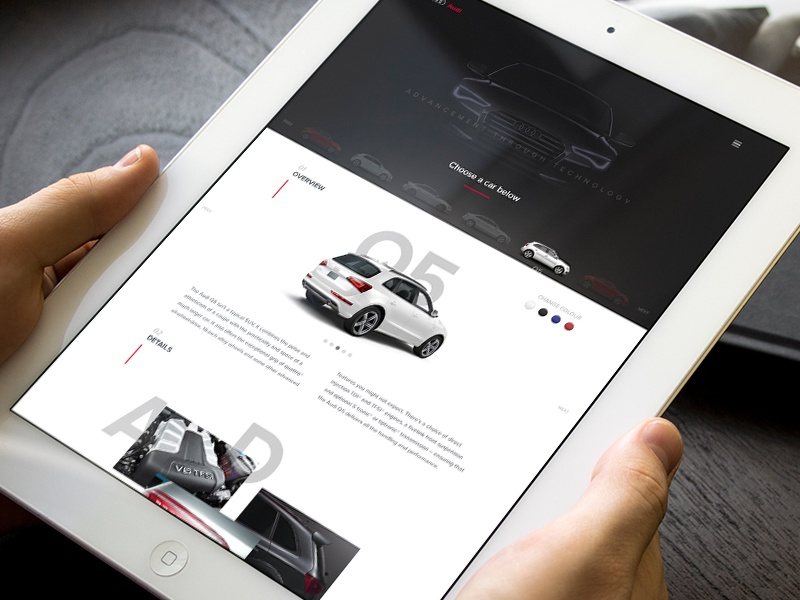 Audi - A new experience ipad web design layout typography audi car e-commerce ux ui design web website