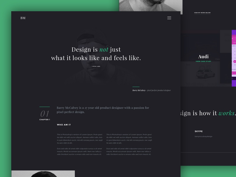 Personal website WIP grid layout typography interface ux ui profile personal design website web