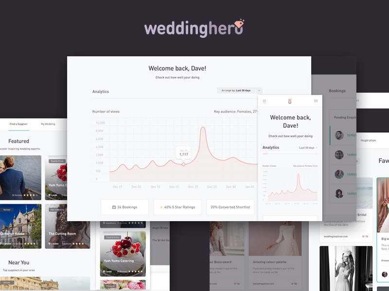 Weddinghero UI & Dashboard web stats graph data wedding dashboard design product interface ux ui