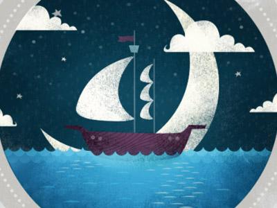 Nautical  boat nautical illustration night lillarogers mats makeartthatsells