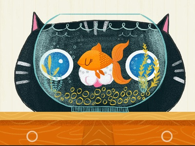 sneaky cat will eat you meow  illustration animation fish character cat