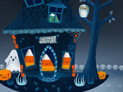 Candy House - No rest the wicked character monster donuts table of terror illustration candy corn halloween