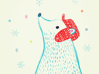 Polar bear watching snow